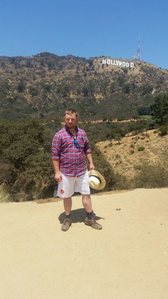 Diarmuid O'Leary at the Hollywood Sign)